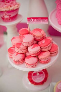 Pink macarons at an American Girl birthday party! See more party ideas at CatchMyParty.com!