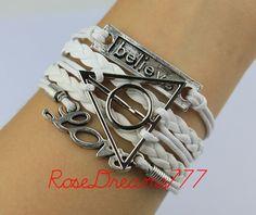 Harry potter fashion silver bracelet love by rosedreams777 on Etsy, $5.99