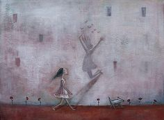 bambina triste cammina con riflesso di bambina felice