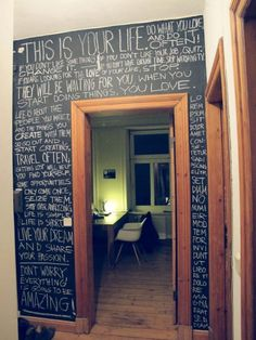 partical board cut to fit your wall painted with chalk board paint attatched with command strips :] awesome apartment ideas!