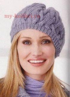 Вязание берета спицами красивым узором из кос: схема и описание на Колибри. Простейшая вязка кос, резинка, сборка. Beret, Knitted Hats, Needlework, Shawl, Knit Crochet, Winter Hats, Beanie, Knitting, Fashion
