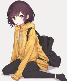 A little rough pushing me there buddy Cute Anime Pics, Anime Girl Cute, Kawaii Anime Girl, Anime Art Girl, Anime Girls, Anime Chibi, Anime Oc, Anime Manga, Anime Girl Brown Hair