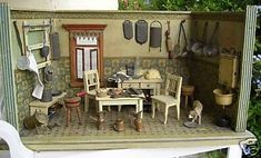 antique 1900s dollhouse box room - Google Search