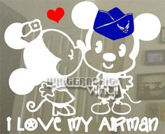 MnM Mouse Kiss Airforce Decal Military inspired decal - a White Rabbit Vinyl original design▶ designed & handmade in the US…………………………………………✤ ……………………………………… Military Pins, Military Quotes, Military Love, Air Force Girlfriend, Military Girlfriend, Military Spouse, Boyfriend, Military Homecoming Signs, Homecoming Ideas