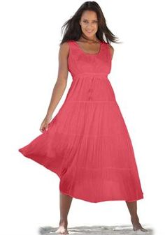 Dress in cool cotton with 3 tiers | Plus Size Maxi Dresses | Woman Within