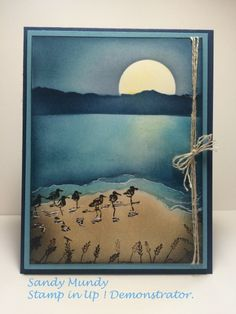 handmade card: Wetlands by Sandy Mundy ... delightful night beach scene ... Wetlands ... sponging ... Stampin' Up!