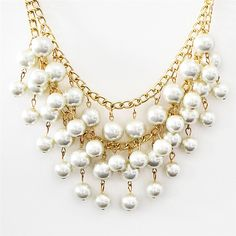 Pearl Necklace - double-strand pearl statement necklace