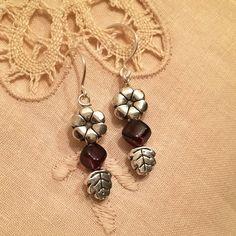SALE-Garnet gemstone beads earrings handmade with tibetan silver beads and silver wire by HoneyMoonNYC on Etsy