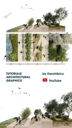 This Video tutorial is showing the process of creating a landscape design perspective section + top view by using SketchUp, Lumion and Adobe Photoshop. Collage Architecture, Landscape Architecture Drawing, Landscape And Urbanism, Architecture Graphics, Landscape Plans, Concept Architecture, Urban Landscape, Landscape Architecture Perspective, Architecture Diagrams