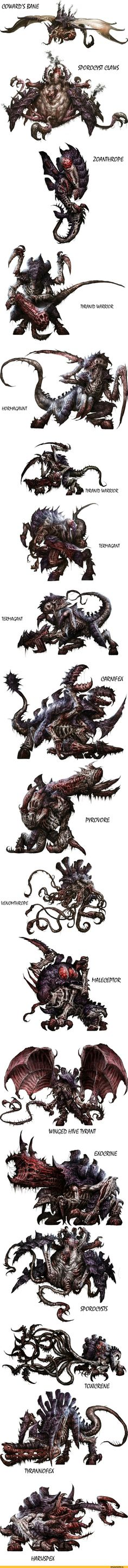 Tyranid art from Shield of Baal: Leviathan. Alien Creatures, Fantasy Creatures, Mythical Creatures, Warhammer 40k Tyranids, Warhammer 40k Art, Fantasy Monster, Monster Art, Creature Feature, Creature Design