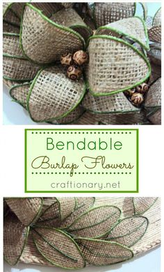 Make flowers with burlap. Make bendable burlap flowers. DIY burlap flowers tutorial. Handmade burlap flowers easy tutorial. New technique no sew DIY flowers
