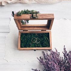 Wedding Ring holder with moss Ring Bearer Box Wedding Ring - Cell Phone Ring Holder - Ideas of Cell Phone Ring Holder - Wedding Ring holder with moss Ring Bearer Box Wedding Ring Car Cell Phone Holder, Iphone Holder, Wooden Ring Box, Wooden Rings, Bling Phone Cases, Vintage Wedding Jewelry, Ring Holder Wedding, Ring Bearer Box, Ring Pillow