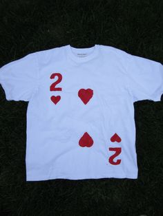 Upcycled Clothing Alice in Wonderland 2 of Hearts Royal Cardsman T-Shirt (White…