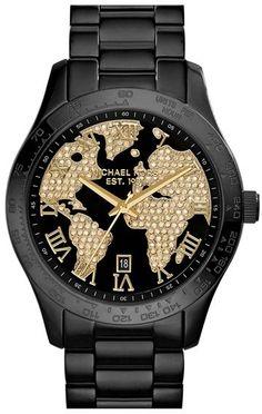 MICHAEL Michael Kors Michael Kors 'Layton' Pavé World Dial Bracelet Watch, 44mm on shopstyle.com