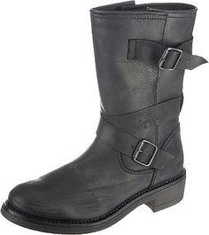 Die Maria Stiefel der Marke NAPAPIJRI bestechen durch ihren dezenten Bikerstyle. Das Obermaterial kommt in hochwertigem Leder daher und verfügt über mehrere Schnallen im Used-Look, die das Design abrunden und Ihnen gleichzeitig die Möglichkeit geben, die Schaftweite des Schuhs zu regulieren.  Obermaterial: Leder  Futter: Leder Decksohle: Leder Laufsohle: Sonstiges Material (Gummi) Verschluss: S...
