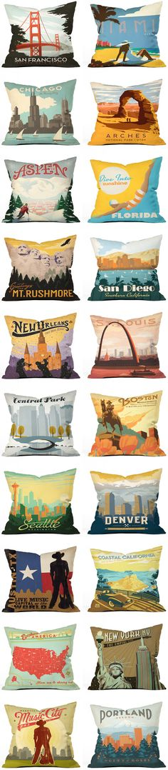 Nostalgic pillows by Anderson Design Group that pay tribute to beautiful vintage tourism ads