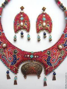 Купить Новгородское - бордовый, ольга орлова, новгород, колт, этника, колье в этническом стиле, птицы