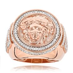 This sleek 14K gold diamond mens Versace Style ring with Medusa weighs approximately 16 grams and showcases 1.88 carats of sparkling round diamonds. Featuring a highly polished gold finish, this magnificent Versace Style diamond ring is a true beauty. Ava