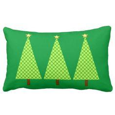 Lime green polka dot modern Christmas trees Lumbar Pillow