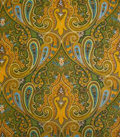 They don't make colour combos like they used to! Orange Green Brown and Blue Vintage Paisley on dandelionfabrics, $10.00