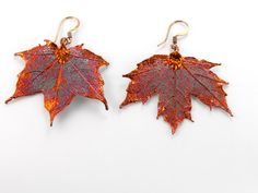 Iridescent Copper Maple Leaf Earrings by MaryMorrisJewelry on Etsy