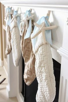 Add a natural beach element to your Christmas stockings, using a finger starfish. Just tuck one of the fingers inside the stocking or tie it, using twine or ribbon. Instantly, you've added a beach element to your Christmas decorating. Be Inspired Seaside Inspired www.SeasideInspired.com