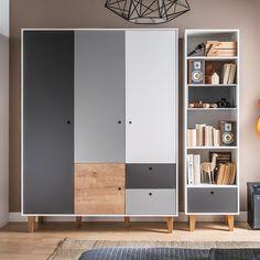 Vox Concept 3 Door Wardrobe in Grey & Oak Effect Wardrobe Door Designs, Wardrobe Design Bedroom, Kids Wardrobe, Pax Wardrobe, Bedroom Cupboard Designs, Bedroom Cupboards, Oak Panels, Hanging Rail, Grey Oak