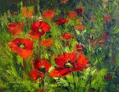 Landscape Artists International: Poppy Dance, Contemporary Landscape Painting by Sheri Jones