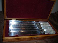 Belknap Hardware 1840 Sterling Mother of Pearl Dessert Knives in Case Rare