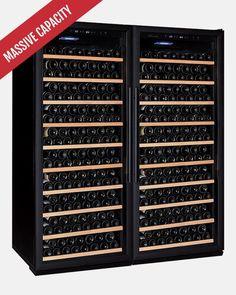 Cru Wine, Home Warranty, Black Doors, Wine Fridge, Wine Storage, White Lead, Wooden Shelves, Interior Lighting, Bordeaux