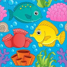 Illustration of Seamless background sea theme 1 - vector illustration.
