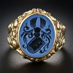 Hefty Gent's Hardstone Intaglio Ring - 30-1-5118 - Lang Antiques