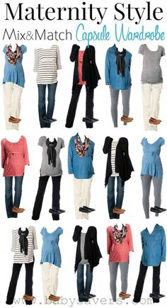 Mix and Match Maternity Capsule Wardrobe: Mix and match all these items for every outfit you'll need throughout pregnancy!