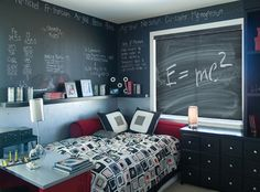 E=MC2 custom graphics roller shades are perfect for a science themed child's room. Wouldn't your little Einstein love this? Love the chalkboard paint walls.