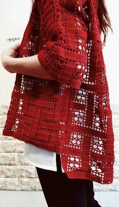 Fabulous Crochet a Little Black Crochet Dress Ideas. Georgeous Crochet a Little Black Crochet Dress Ideas. Gilet Crochet, Crochet Coat, Crochet Cardigan Pattern, Crochet Jacket, Crochet Blouse, Crochet Shawl, Crochet Clothes, Easy Crochet, Crochet Patterns
