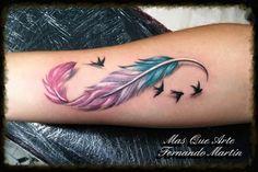 A tattoo is a rather beautiful means to brand your entire body. A feather tattoo can likewise be put to use as a sign of good dreams. All you have to enjoy having a terrific feather tattoo on your body… Continue Reading → Infinity Tattoo With Feather, Feather With Birds Tattoo, Feather Tattoo Design, Infinity Tattoos, Tattoo Bird, Bird Feathers, Colored Feather Tattoos, Infinity Tattoo Family, Infinity Signs