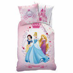 Parure housse de couette + 1 taie d'oreiller coton imprimé Princesses Diadème