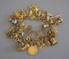 14k Charm bracelet in yellow gold covered in charms with personal meaning.