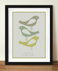 Three little birds - love the style and the color palette
