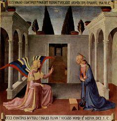 """Fra Angelico (1400-1455) - """"L'Annonciation du musée San Marco"""" (1451-1452) un des éléments de la Vie du Christ de l'Armoire des ex-voto d'argent - Tempera & or sur bois, 123 × 123 cm - Musée national San Marco - Florence, Italie."""