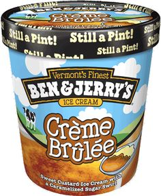 Creme brûlée - sweet custard ice cream with a caramelised sugar swirl