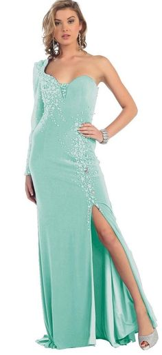 BG1810.This elegant tiffany blue gown with one mesh sleeve, sweetheart neckline, beautiful beadwork and slit a real winner for your ball or evening event. In our window today. Visit Bridal and Ball in Albany village for your Ball gown this season.