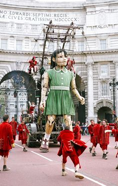 Little Girl Marionette from 'The Sultan's Elephant' via wemadethis: PIctured walking around the  mall in London. #Marionette #The_Sultan's_Elephant #London