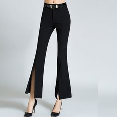 Elegant New Women's Pants Ankle Length Wide Leg Trousers For Women Solid High Stretch Cotton Ladies Split Leg Pants Belt Slim XL