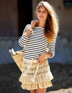 Constance Jablonski photographed by Cedric Buchet for Elle France wearing a striped top and raffia skirt Fashion Photo, Fashion Beauty, Womens Fashion, Fashion Pics, Fashion Fall, Style Fashion, Latest Fashion, Mode Editorials, Fashion Editorials