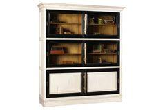 Calminius Bookcase . CHERRY . natural cherry with white and black