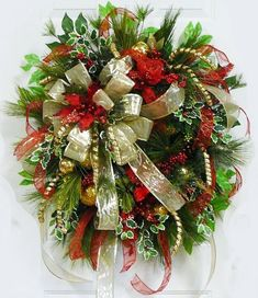 XXL Gorgeous Christmas Door or Wall Wreath Gold by LadybugWreaths by jodie