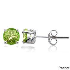 Glitzy Rocks Sterling Silver Round Gemstone Birthstone Stud Earrings (August - Peridot), Women's, Size: Small, Green