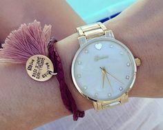 Zegarek blogerek GENEVA HEART Złoto różowy Michael Kors Watch, Gold Watch, Bracelet Watch, Pearls, Bracelets, Leather, Accessories, Fashion, Moda