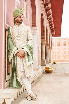 Cream & Green Silk Lace Work Wedding Sherwani For Groom Work Latest Groom Collection For Wedding Mahina. Sherwani For Men Wedding, Wedding Dresses Men Indian, Wedding Outfits For Groom, Groom Wedding Dress, Sherwani Groom, Men's Wedding Wear, Mens Wedding Wear Indian, Indian Weddings, Wedding Men